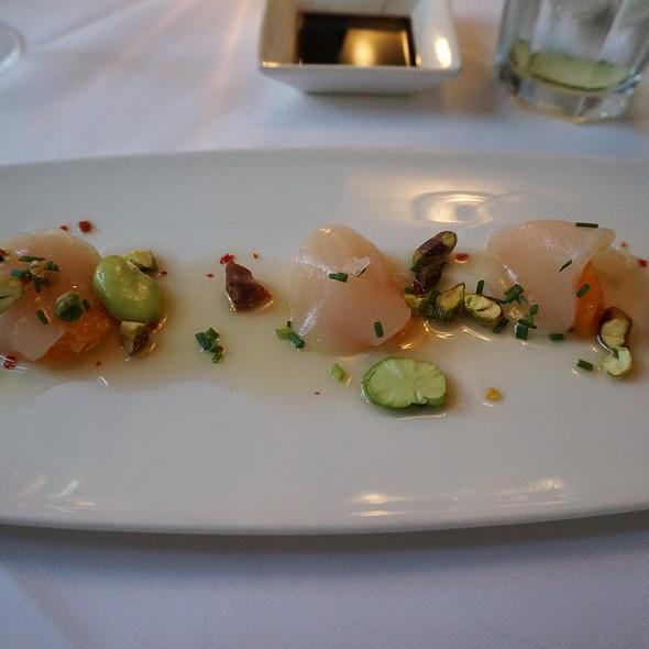 Jumbo diver scallops sashimi crudo - andouille sausage, fava beans, mandarin segments, pistachios and a sudachi mirin chili flake dressing - Oveja Blanca, Santa Barbara, CA