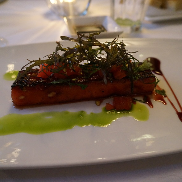 Grilled watermelon with tomato concasee, pistachios, mint, red wine syrup, basil oil - Oveja Blanca, Santa Barbara, CA
