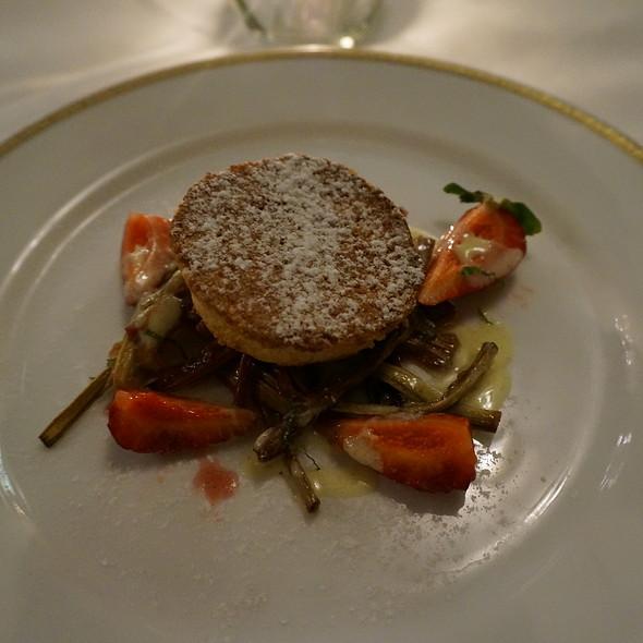 Almond financier cake with strawberies, rhubarb and lemon mousseline tart - Oveja Blanca, Santa Barbara, CA
