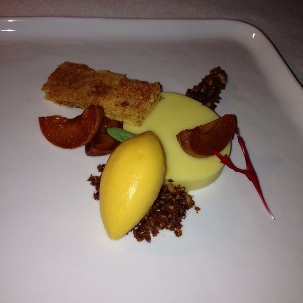 Vanilla Bean Pudding, Lemon Sherbet & Apricots - Chez TJ, Mountain View, CA