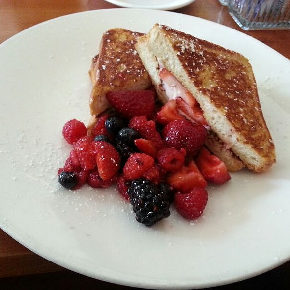 stuffed french toast with mascarpone and strawberries - Woodlands American Grill, Dallas, TX