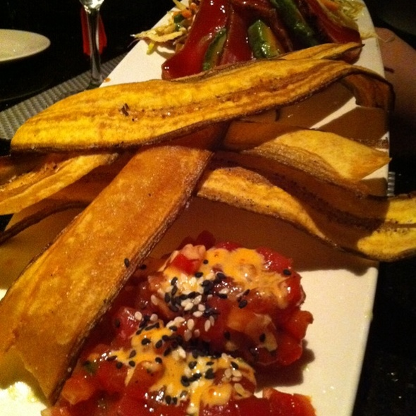 East Meet West Tuna Tartar/Tuna Sashimi With Fried Plantains - Chart House Restaurant - Weehawken, Weehawken, NJ