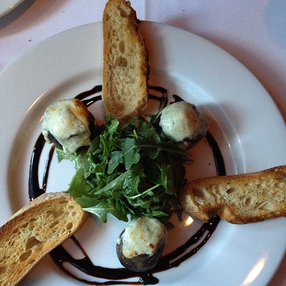 Warm Gorgonzola Stuffed Black Mission Figs, Baby Arugula, Balsamic Reduction - John Bentley's - Redwood City, Redwood City, CA