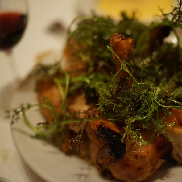 Chicken For Two, Warm Bread Salad, Red Mustard Greens - Zuni Cafe, San Francisco, CA