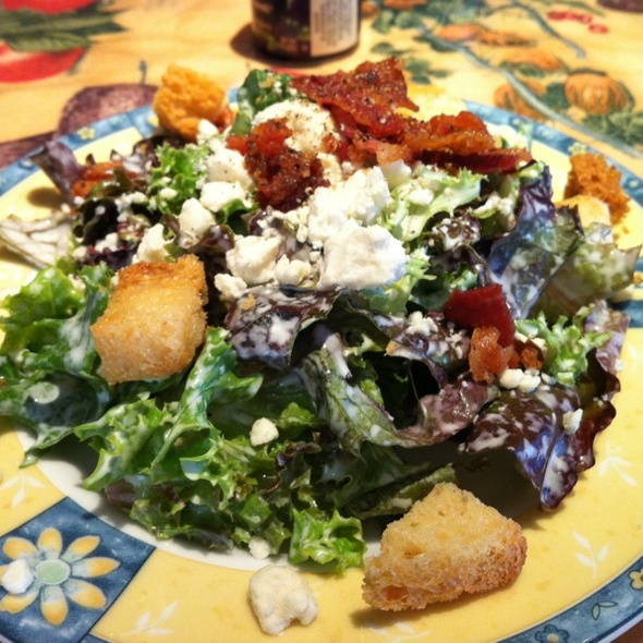 Mixed Greens Side Salad with Blue Cheese Dressing and Crostini - Babette's Cafe, Atlanta, GA