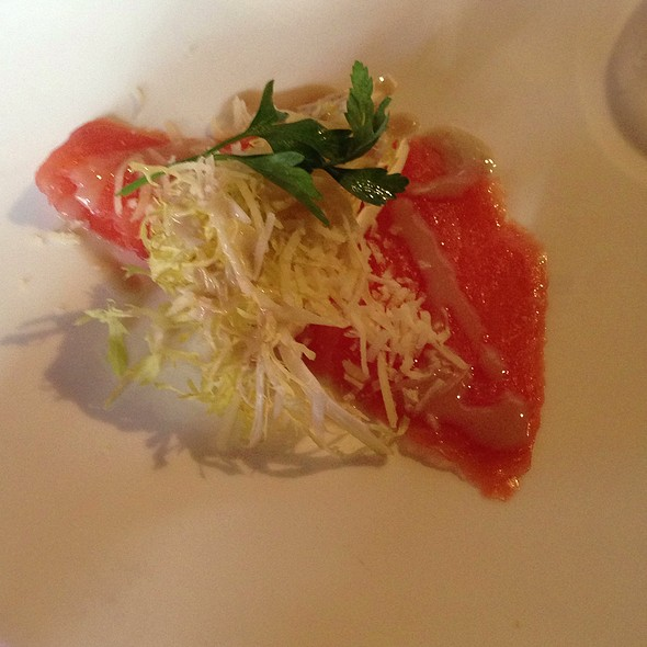 Cold Smoked Salmon Carpaccio With Blonde Baby Frisse Salad, Parmesan Cheese & Wasabi Dressing - Sanctuary, Minneapolis, MN