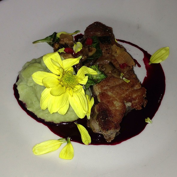 Ahi Tuna, Spinach Mashed Potato,  Roasted Ratatouille And Berries Syrup - Sanctuary, Minneapolis, MN