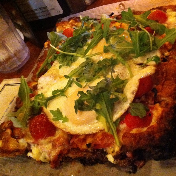 Breakfast Pizza With Egg, Arugula, Tomato, Ricotta, And Prosciutto - Amity Hall, New York, NY