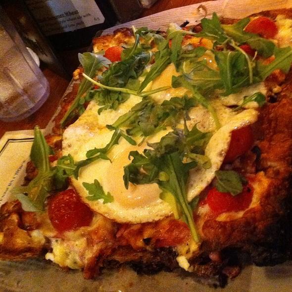 Breakfast Pizza With Egg, Arugula, Tomato, Ricotta, And Prosciutto - Amity Hall, New York, NY
