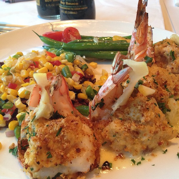 Oven Roasted Crab Stuffed Prawns With Succotash Rice - Cutters Crabhouse, Seattle, WA