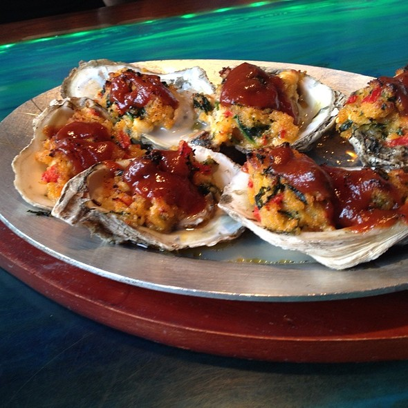 Bbq Cheddar Parm Baked Oysters - Aarons Fishcamp, Siesta Key, FL