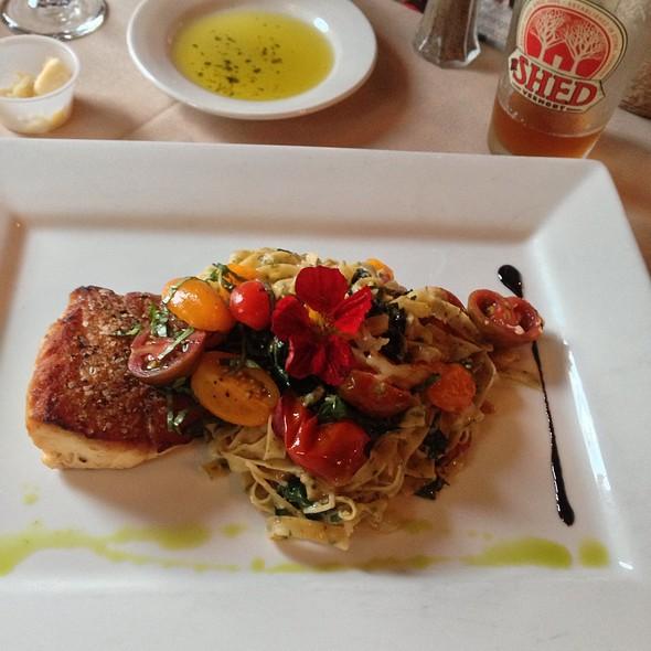 Massachusetts Striped Bass Over Basil Fettuccini - 1846 Tavern and Restaurant, West Dover, VT