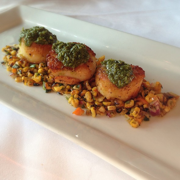 Maine Diver Scallops W/ Chimichurri Sauce & Corn Hash - Flaming Torch Restaurant, New Orleans, LA