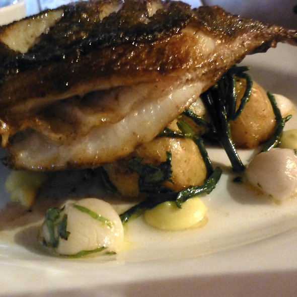 Pan fried John Dory with Queen scallops, sautéed potatoes, organic ...