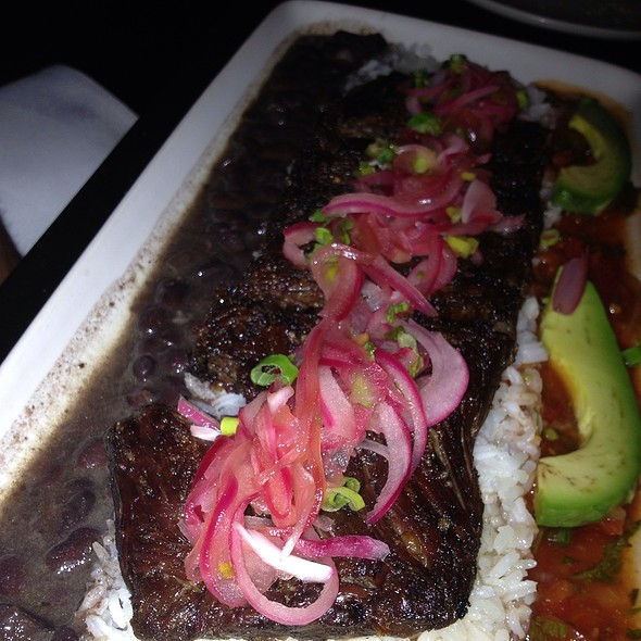 Vaca Frita, Pan Seared Skirt Steak, Black Beans, White Rice And Tomato Escabeche - Alma De Cuba, Philadelphia, PA