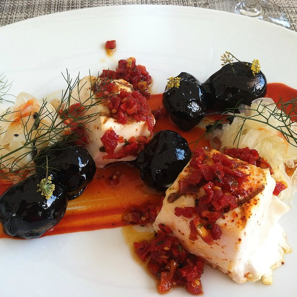 Halibut With Pepper-Sundried Tomato Coulis And Squid Ink Aioli Potatoes - TOPPER'S Restaurant at The Wauwinet, Nantucket, MA