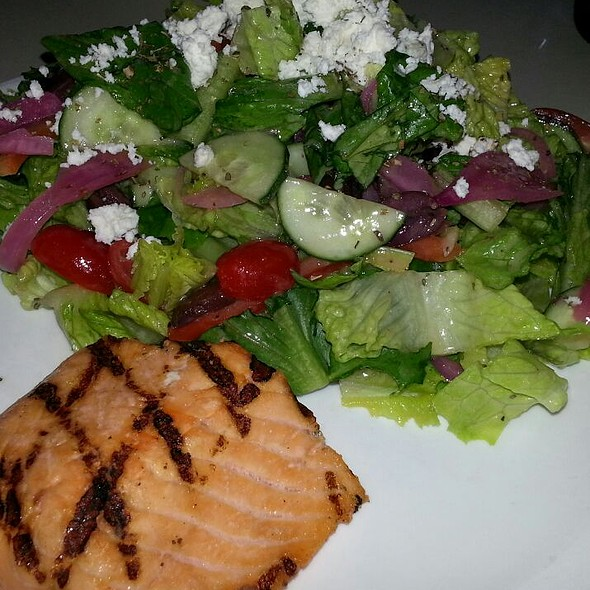 Greek Salad With Salmon - UpRoot Restaurant, Warren, NJ