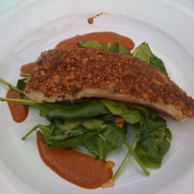Cardamom, cumin and almond crusted Mahi Mahi - Red Fish Grill, Miami, FL