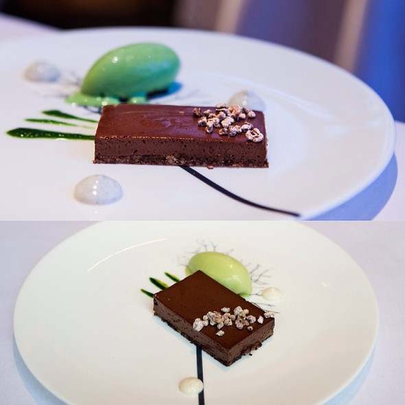 Pavé of Chocolate with Milk Pureé and Lovage Ice Cream - The Ledbury, London