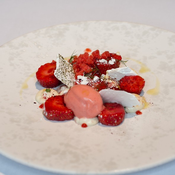 Gariguette Strawberries With Honey Cream, Verbena Meringues And Strawberry Sorbet - The Ledbury, London