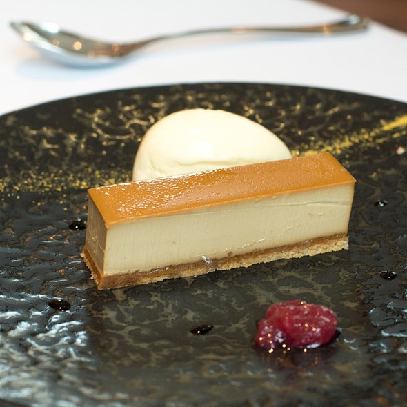 Brown Sugar Tart With Poached Grapes & Stem Ginger Ice Cream - The Ledbury, London