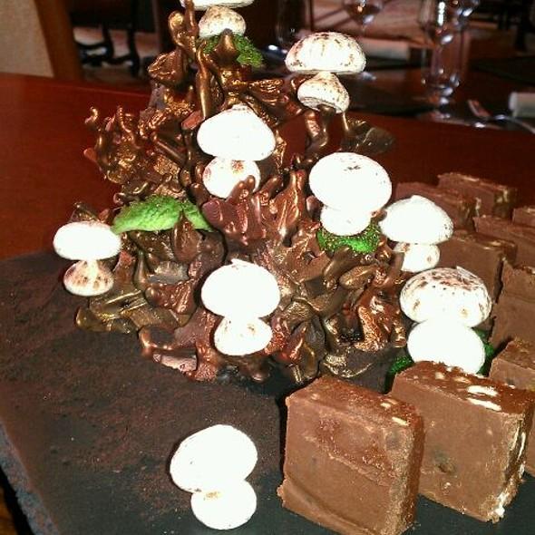 Meringue Mushrooms With Pretzel Marshmallow Fudge - Flame Restaurant, Vail, CO