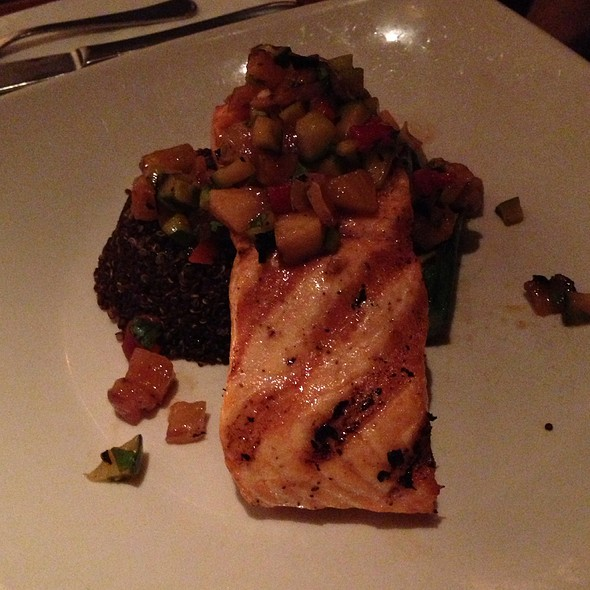 Grilled Salmon With Charred Pineapple, Smoked Chile, Basil, Red Quinoa, And Lita Squash - Elephant & Castle - New York, New York, NY