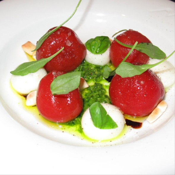 Caprese Salad With Liquid Mozzarella Balls - The Bazaar by José Andrés, Los Angeles, CA