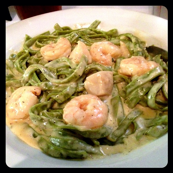 Spinach Fettucini with Lobster, Scallops, and Shrimp - Il Vicinato Ristorante, Chicago, IL
