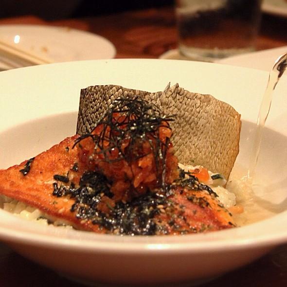Miso-Glazed Tasmanian Salmon: Braised Leeks, Risotto Cake, Vin Blanc, Chives - The Pineapple Room by Alan Wong, Honolulu, HI