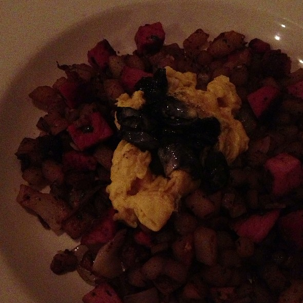 House-Cured Ham Hash With Soft Scrambled Egg And Corn Fungus - Grange Kitchen & Bar, Ann Arbor, MI