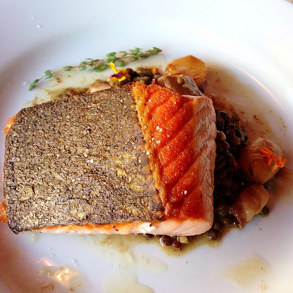 California King Salmon, Lentils, Bacon, Tokyo Turnips, Lemon Brown Butter - Florio, San Francisco, CA