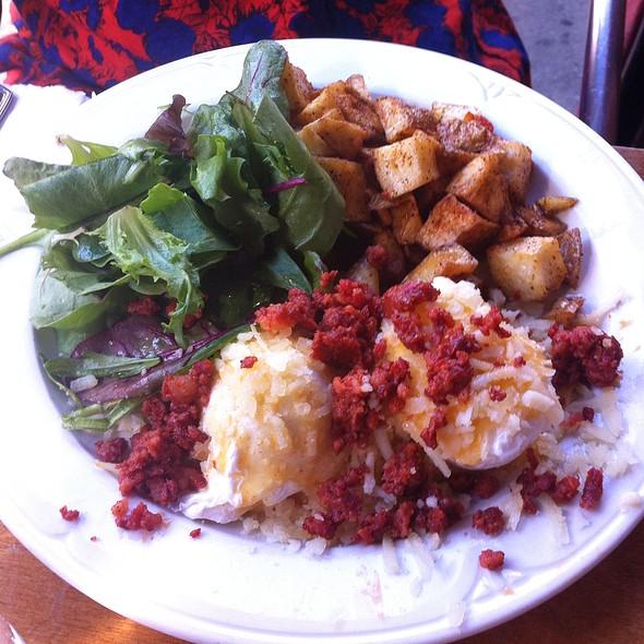 Poco Benedict W/Arepa, Poached Eggs, Manchego Cheese, Chorizo Pork Sausage, And Pimento Hollandaise - Poco, New York, NY