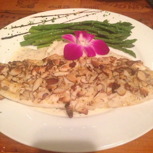 Almond-Crusted Whitefish With Truffled Grits And Asparagus - Dusty's Wine Bar, Okemos, MI