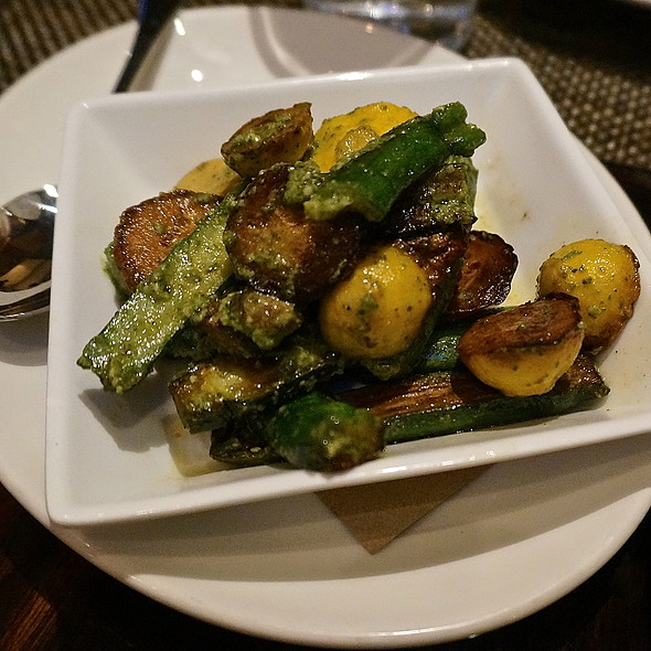 Roasted pattypan and green squash, pesto sauce, vegetables side dish - The Florentine, Chicago, IL