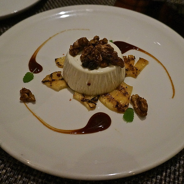 Vanilla panna cotta, grilled pineapple, pink peppercorn, caramel, candied walnuts - The Florentine, Chicago, IL