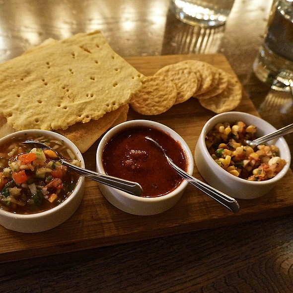 Mexican salsas – tomato hibiscus ghost pepper, seasona corn,grilled plums, sweet onion, basil; heirloom tomatoes, cucumbers, serrano chiles, with masa corn crackers and rice crackers - Takito Kitchen - Wicker Park, Chicago, IL