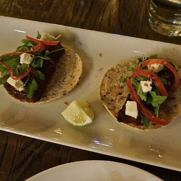 Pork belly tacos, sesame tortilla, morita salsa, fresh mozzarella, pickled onions, arugula (Mexican food, street food) - Takito Kitchen - Wicker Park, Chicago, IL