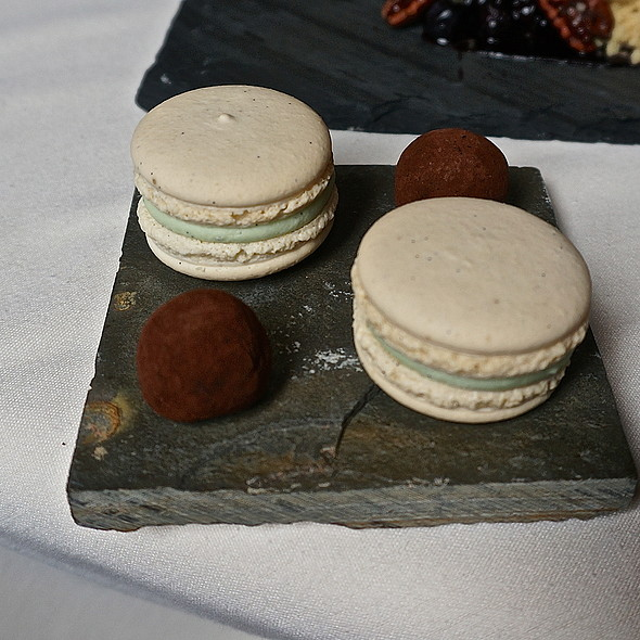 Basil French macarons, ancho chile chocolate truffles, brunch mignardises - North Pond, Chicago, IL