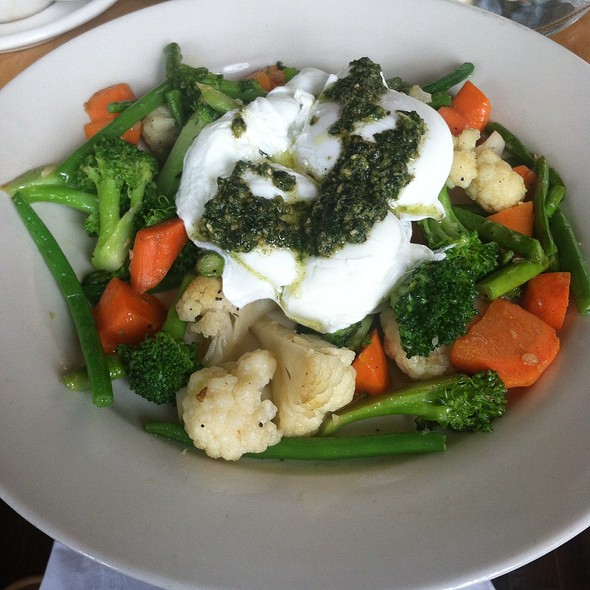 Pesto Drizzled Poached Eggs - Babette's, East Hampton, NY