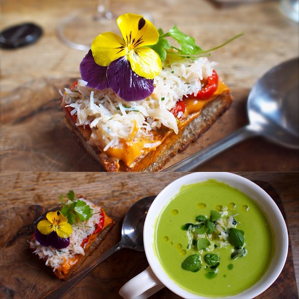 Chilled Courgette & Basil Soup With Cornish Crab On Toast - Harwood Arms, London