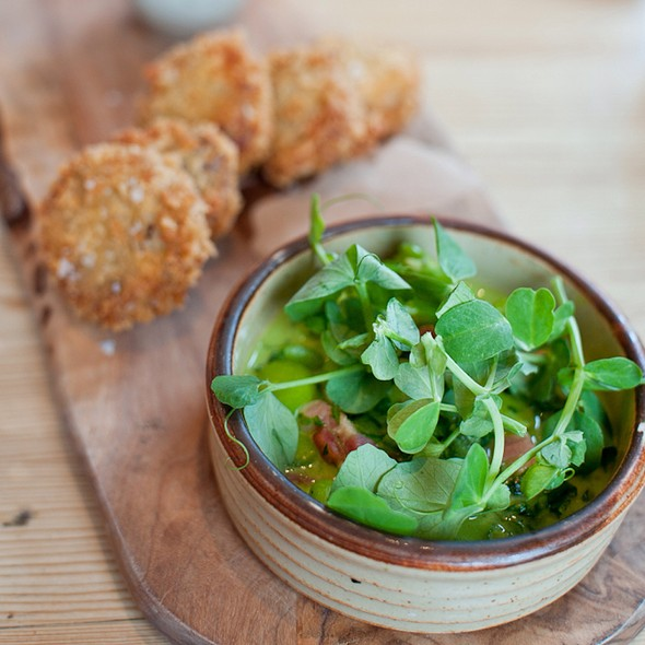 Crispy Brawn With Tarragon Mustard & Broad Bean Stew - Harwood Arms, London