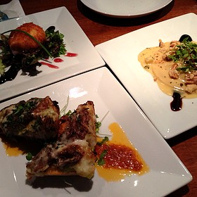 Duck Ravioli, Braised Short Rib Bruschetta, And Cranberry Chèvre Fritter - Aqua Restaurant, Beaufort, NC