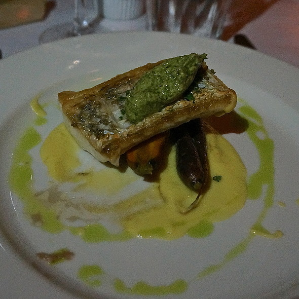 Seared corvina fillet, baby carrots, fennel-carrot top pistou, corn pudding - Bistro Bordeaux, Evanston, IL