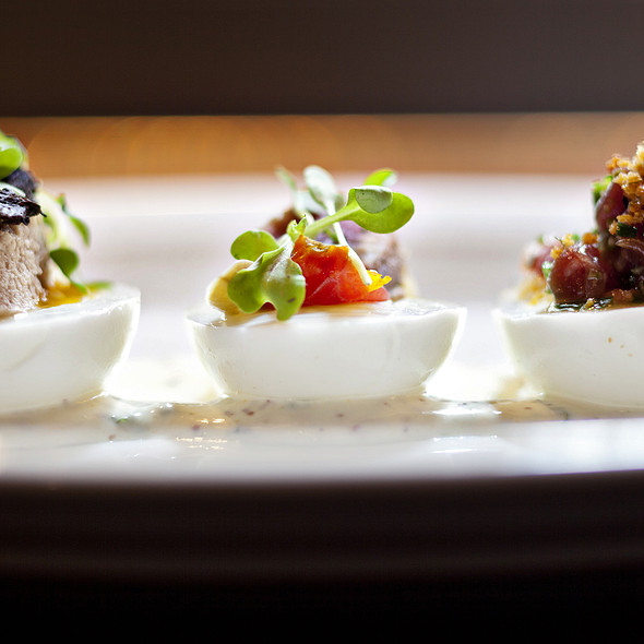 Deviled Eggs And Candied Bacon - B&O American Brasserie - Hotel Monaco, Baltimore, MD
