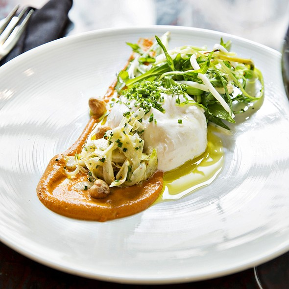 Buratta Mozzarella with Roasted hazelnuts, Spring Onions, Fennel, Balsamic and Romesco - B&O American Brasserie - Hotel Monaco, Baltimore, MD