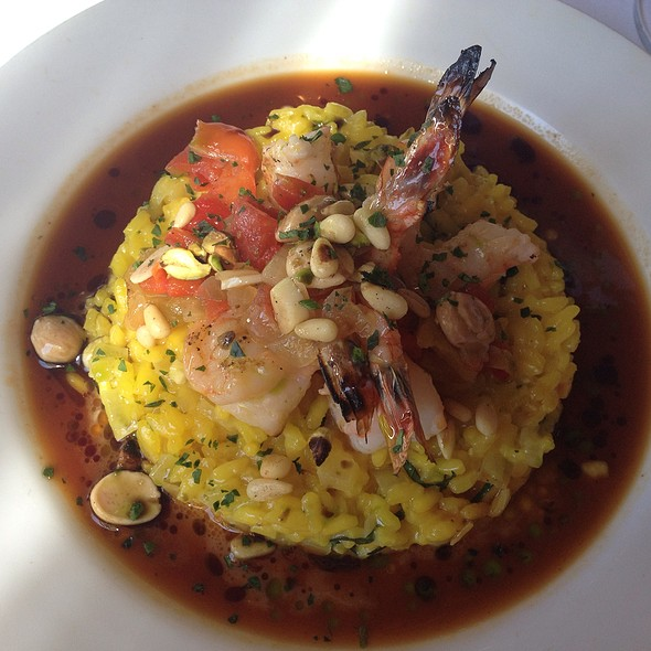 Rock Shrimp And Saffron Risotto With Chorizo Salt And Preserved Lemon - Joe's Restaurant, Venice, CA