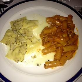 White Corn Ravioli W Truffles And Pasta W Meat Sauce - Capo, Santa Monica, CA