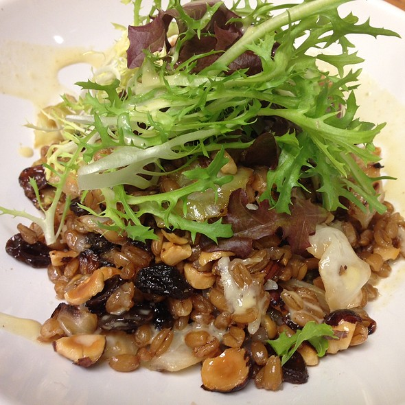 Farro Salad with braised cabbage, raisins, manchego, candied hazelnuts and a citrus vinaigrette - Vintage Enoteca, Los Angeles, CA