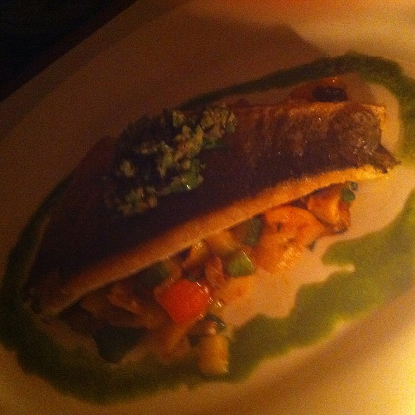 Seared Branzino With Ratatouille, Olives, Capers, Lemon Confit - Lure New York, New York, NY